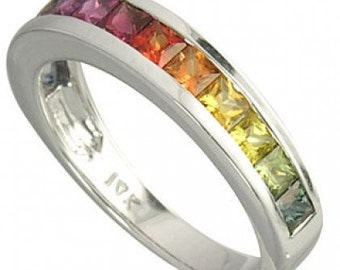 Multicolor Rainbow Sapphire Half Eternity Band Ring 18K White Gold (2ct tw) SKU: 663-18K-Wg
