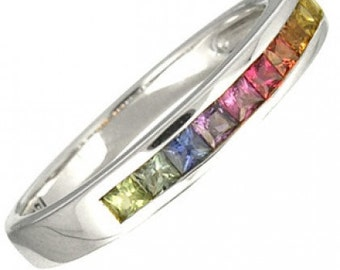 Multicolor Rainbow Sapphire Half Eternity Band Ring 18K White Gold (3/4ct tw) SKU: 891-18K-Wg