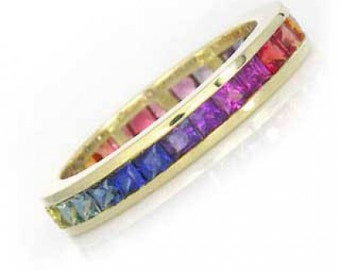 Multicolor Rainbow Sapphire Eternity Band Ring 18k Yellow Gold (4ct tw) : sku R2045-18k-yg