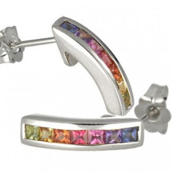 Multicolor Rainbow Sapphire Earrings Hoop Huggie 18K White Gold (1ct tw) SKU: 888-18K-Wg