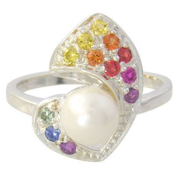 Multicolor Rainbow Sapphire & Pearl Majestic Queens Ring 925 Sterling Silver (1/2ct tw) SKU: 1467-925