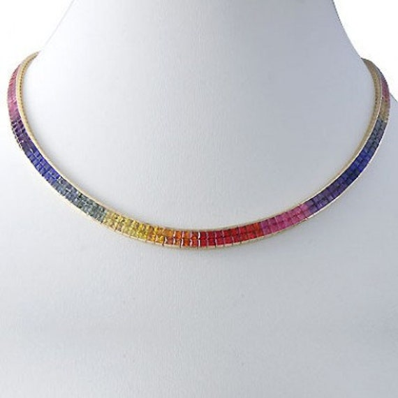Multicolor Rainbow Sapphire Invisible Set Double Row Tennis Necklace 14K Yellow Gold (43ct tw) SKU:  415-14K-Yg