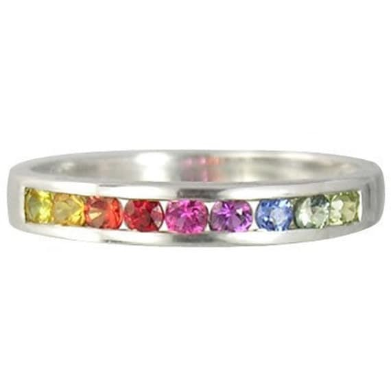 Multicolor Rainbow Sapphire Half Eternity Band Ring 925 Sterling SIlver : sku 892-925