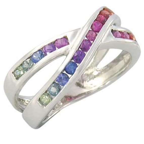 Multicolor Rainbow Sapphire Crossover Ring 925 Sterling Silver : sku 470-925