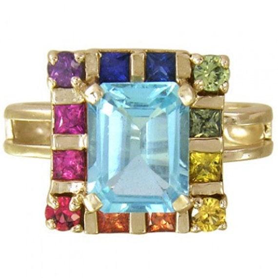 Multicolor Rainbow Sapphire & Blue Topaz Rubix Cube Ring 14K Yellow Gold(3.26ct tw) SKU: 1785-14K-Yg