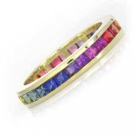 Multicolor Rainbow Sapphire Eternity Band Ring 18k Yellow Gold (4ct tw) : sku R2045-18k-yg