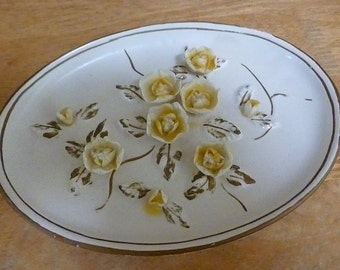 Vintage Lefton China Yellow Rose wall plate