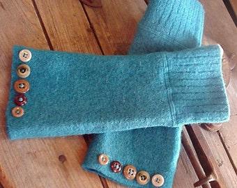 Turquoise Arm Warmers, Wool Cozy Wrist Warmers, Warm Winter Cuffs, Snowbird Eco Cowgirl Ranch Warmers itsyourcountryspirit
