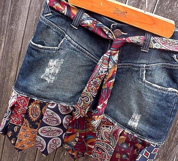 Denim Necktie Skirt Upcycled Silk Neck Tie Blue Jean Skirt Eco Rustic Western Ranch Rodeo Cowgirl Skirt Original OOAK itsyourcountryspirit