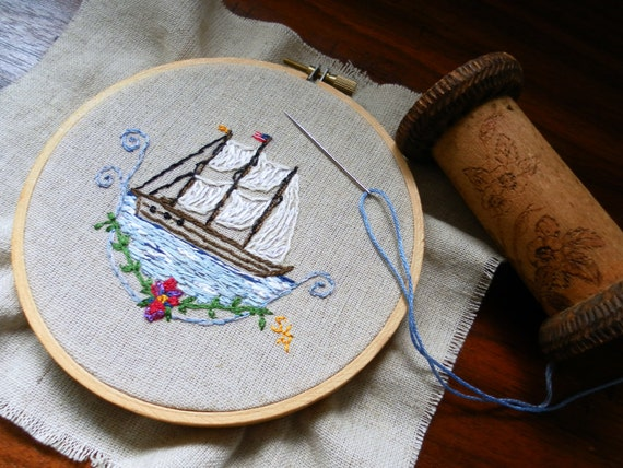 Nautical hand embroidered sail boat picture with american flag  Reserve for Amy