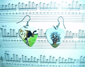 Hand Crafted Pink Floyd Guitar Pick Earrings