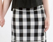 SALE Black & White Gingham Pencil Skirt w.Quilt-Stitched Waist and Hem.