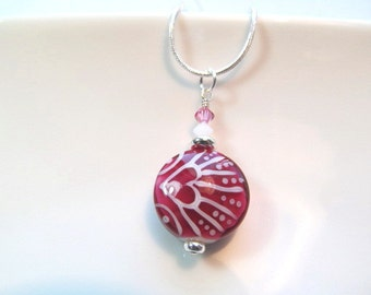 Necklace pink & white glass lampwork details includes heart shape