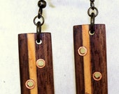 Wooden Earrings from reused materials Handmade The Straight Liners