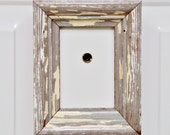 New Orleans Frame, Reclaimed Wood, Refrigerator Frame, Door Peephole Frame, White Grey