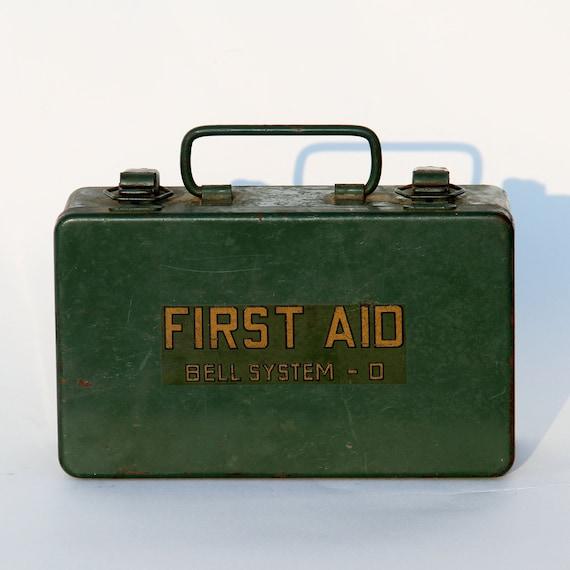 Vintage First Aid Kit - Vintage Medical - Dark Green - Industrial Home Decor - Gift for Grad
