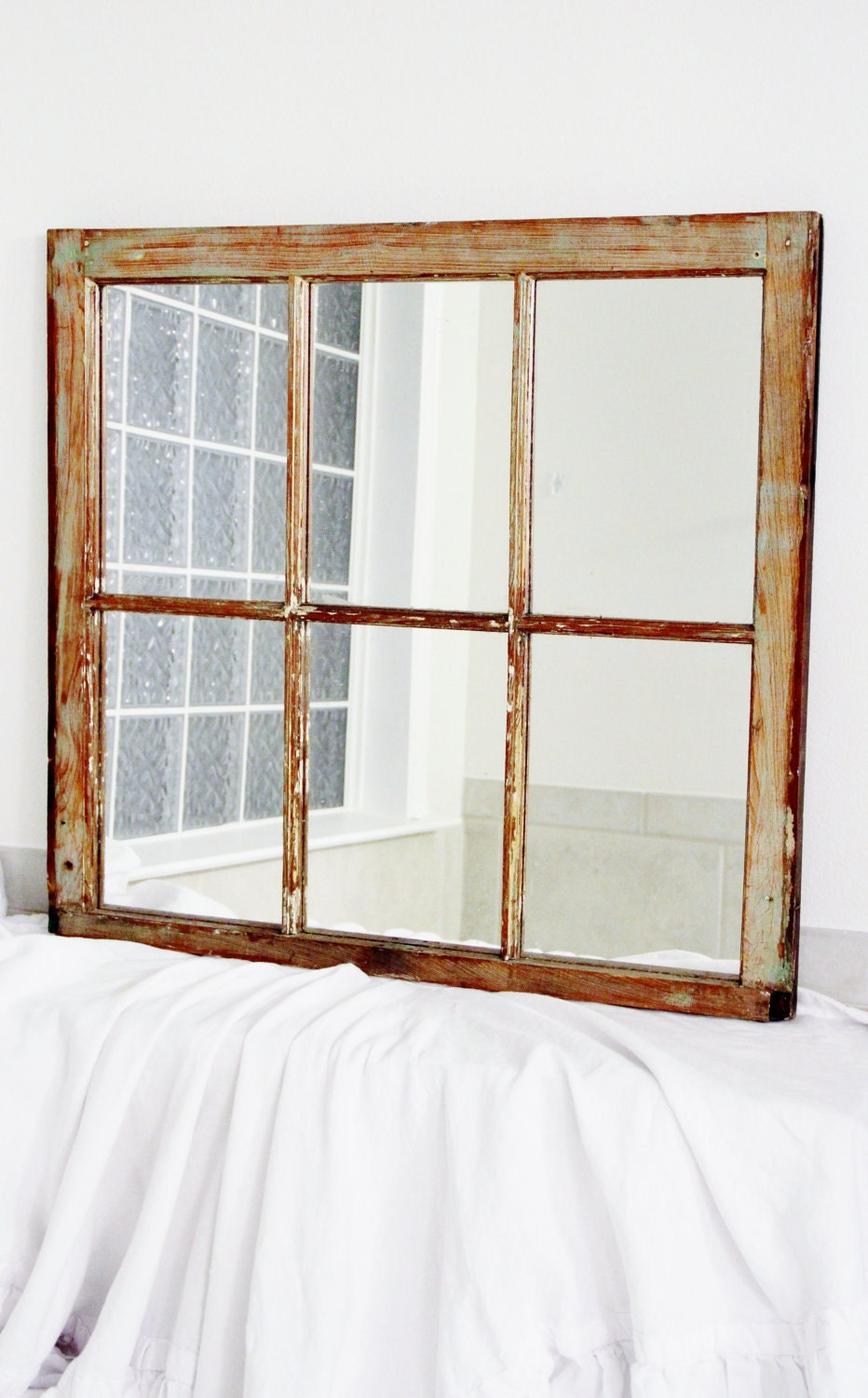 New Orleans Salvage Window Mirror Large 6 Pane Reclaimed