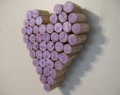 Wine Cork Purple Heart Lavender Wall Decor Hanging Art Mother's Day Gift