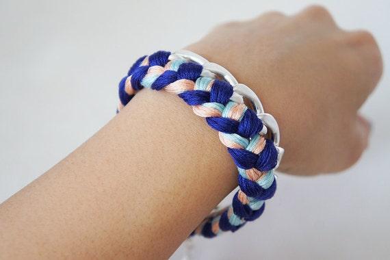 Braided  Woven Silver Chain Bracelet