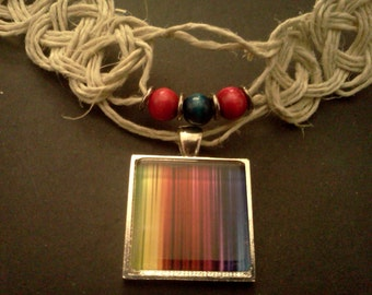 CLEARANCE- celtic knotted hemp necklace with rainbow glass pendant