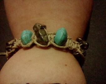 Turquoise and pyrite hemp bracelet