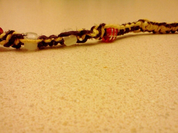 CLEARANCE- Purple and yellow glow in the dark beaded hemp bracelet