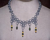 jade with glass beads chainmaille neckalce