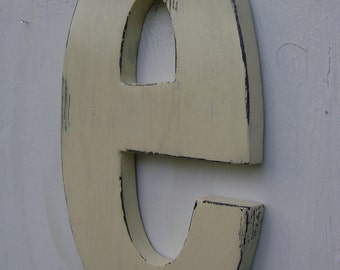 """white wooden letters shabby chic decor rustic lower case """"e"""" lightly distressed,cabin,home cottage wall hanging decor"""