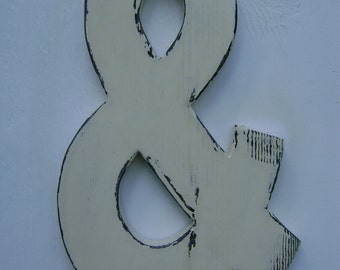 "Wedding decor rustic  shabby chic hanging wood letters Ampersand 3/4"" thick 12"" tall painted Antique  white and distressed."