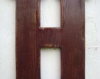 "wood letter H primitive rustic decor handmade 12"" alphabet letters nursery decor"