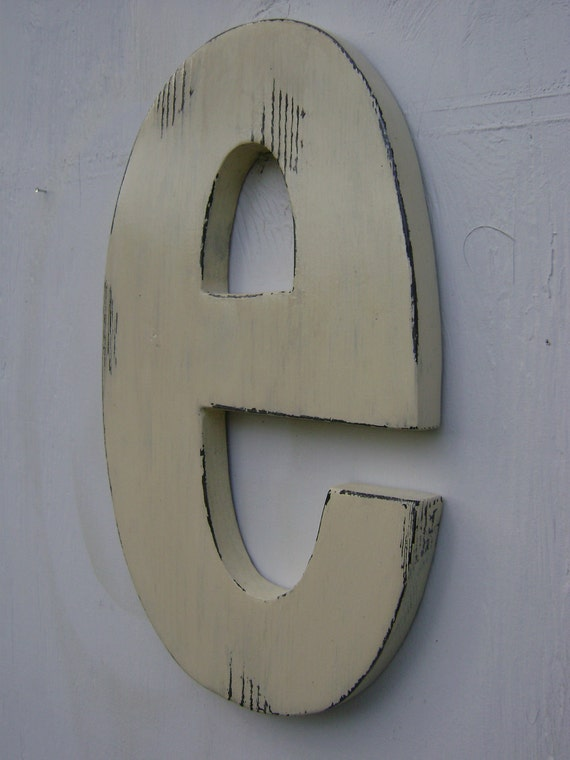 "white wooden letters shabby chic decor rustic lower case ""e"" lightly distressed,cabin,home cottage wall hanging decor"