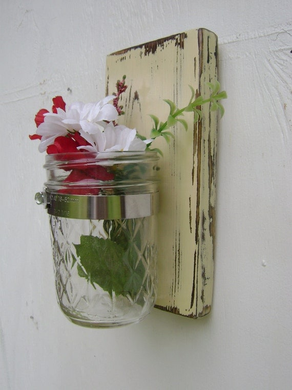 country vase shabby chic wall sconce mason jar by. Black Bedroom Furniture Sets. Home Design Ideas