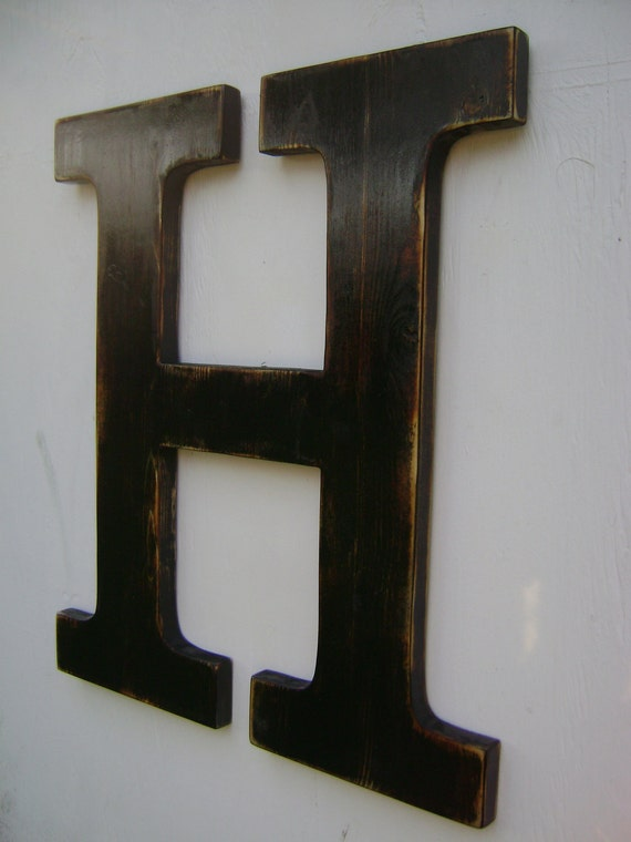 items similar to big wall hanging wooden letter h nursery With black wooden letters wall decor