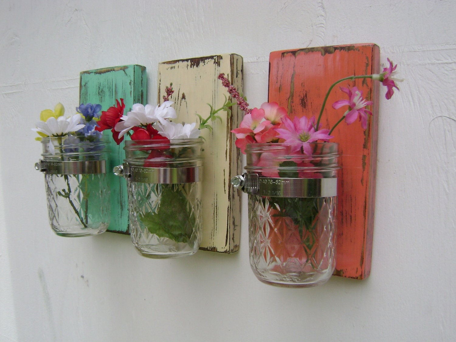 Wall sconce shabby chic rustic wooden vases by unclejohnscabin for Bathroom decor vases