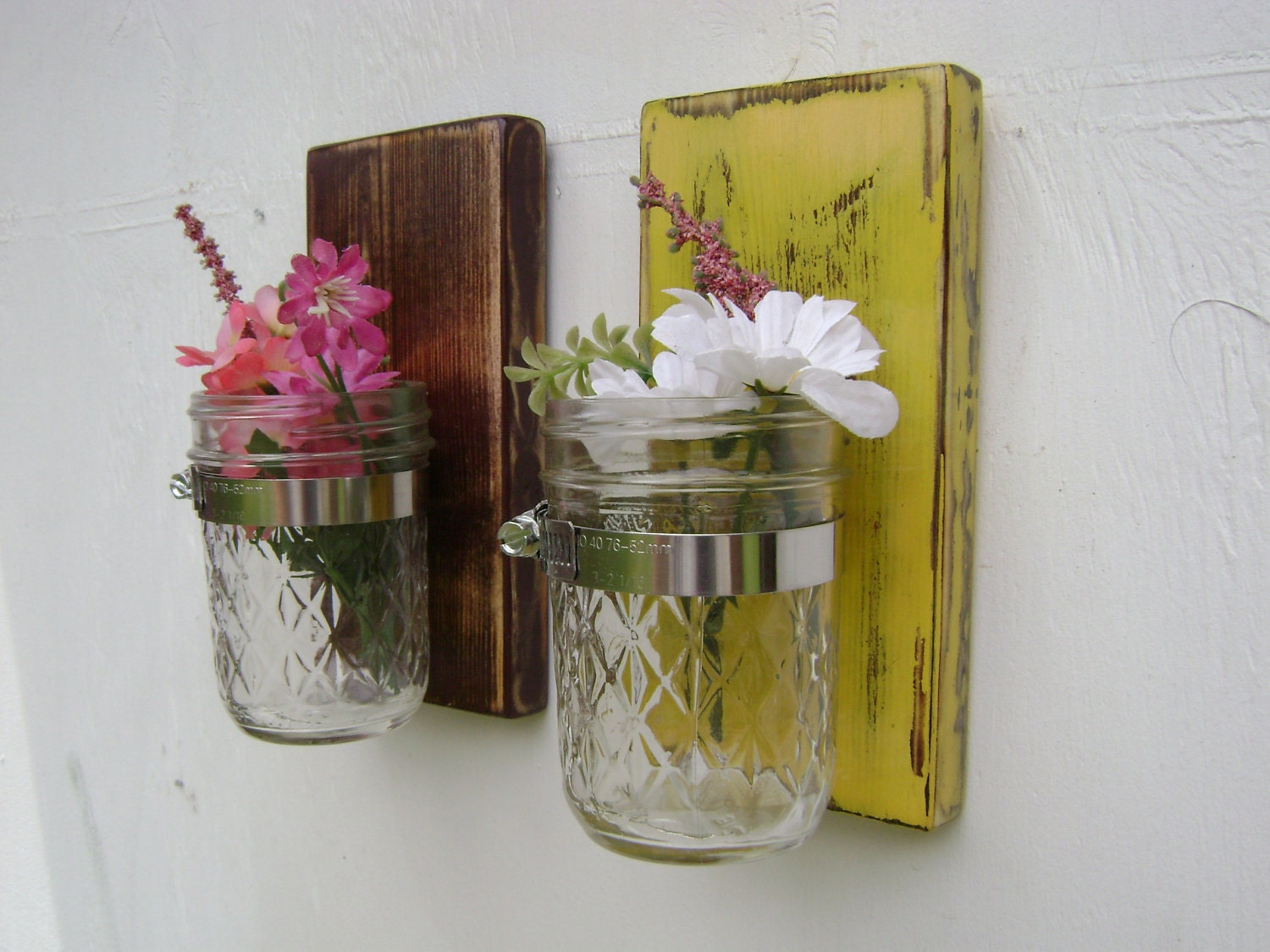 Mason Jar Wall Sconce Etsy : wall hanging wood vase sconce mason jar french by UncleJohnsCabin