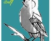 Modern Word Art - Bird Drawing - Bible Verse Art - Summer Breeze - Blue Yellow