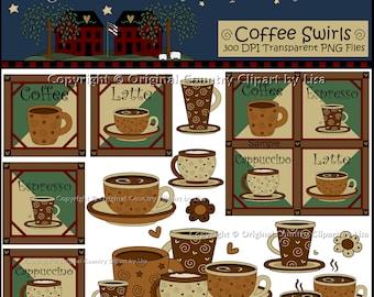 Coffee Swirls PNG Clip Art Set