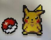 Perler Bead Magnet Set - Pikachu and Pokéball