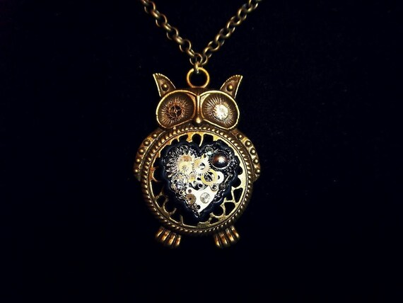 Owl Steampunk Necklace (Silver)