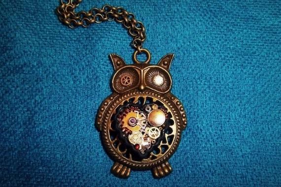 Owl Steampunk Necklace (Bronze)