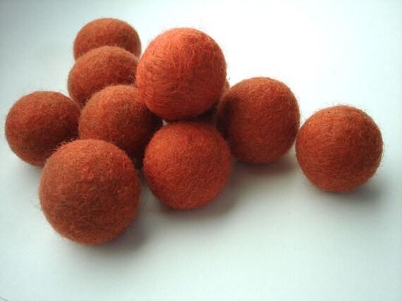 SALE burnt orange hand rolled felt balls/beads 20-22mm
