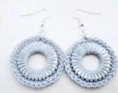 Blue Crochet Metal Earrings