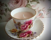 Pretty, Floral, Royal Stafford, vintage tea cup candle - scented