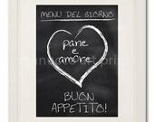 "Italian Kitchen Art Print Pane e Amore Bread and Love 8"" x 10"""