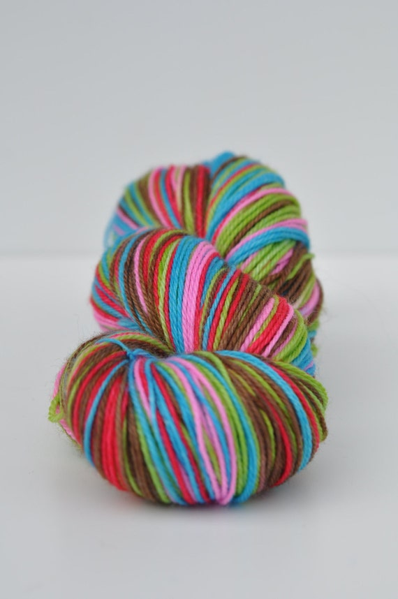 Self Striping Sock Yarn 80/20 Merino Nylon - New Crazy Stripes - Colorway Clownin' Around
