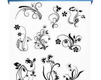Flower Flourish Swirl Decorative clip art...BUY 1 GET 1 FREE