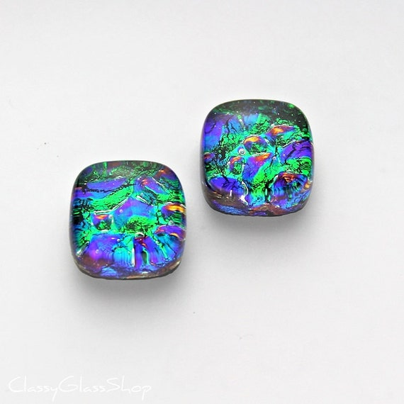 Blue and Green Fused Dichroic Glass Earring Cabochons for You or Me to Make into Custom Jewelry