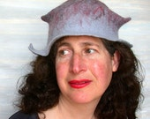 Grey Felt Cloche -  Womans Felted Hat - Ombre Pixie Hat