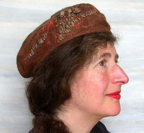 Fall Fashion, Woman's Felt Beret, Nuno Felted Hat,