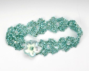 Seafoam Green Seed Bead Bracelet with Swarovski Crystal and a Large Glass Flower Clasp